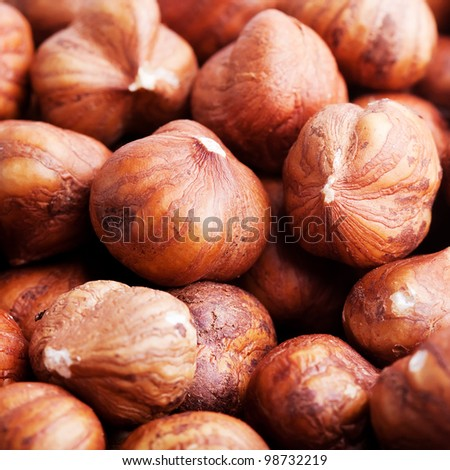 Hazelnut background closeup