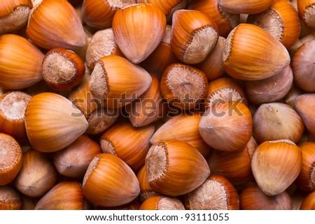 Hazelnut background - top view of fresh hazelnuts