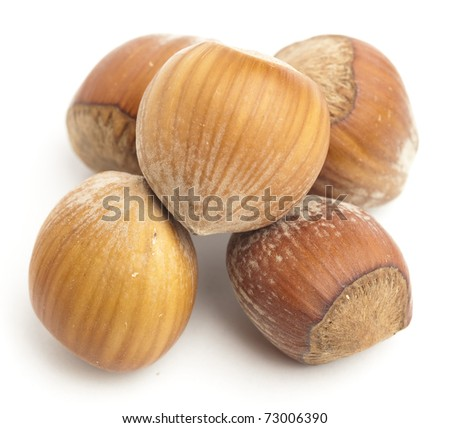 hazelnut pile isolated on a white background