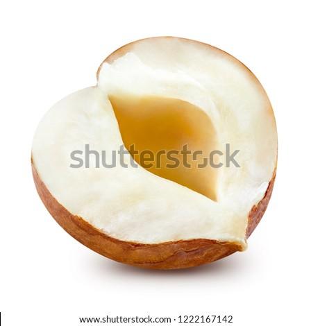 Hazelnut section. Hazelnut isolated on white background Clipping Path