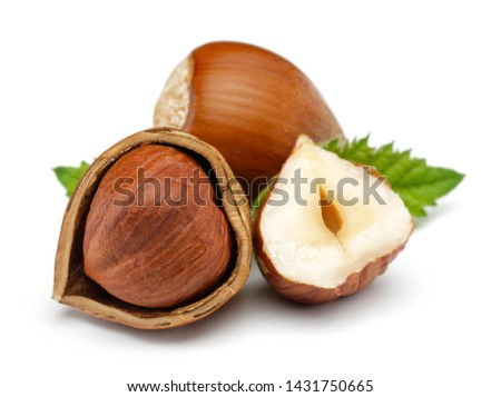 Hazelnut with leaf isolated on white background Foto d'archivio ©