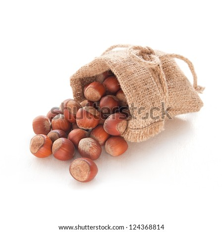 Hazelnuts (filberts) in a bag on the white background