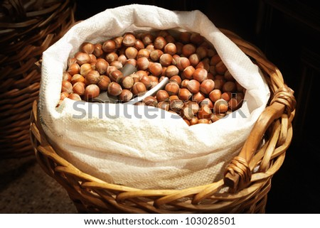 Hazelnuts in a white sack