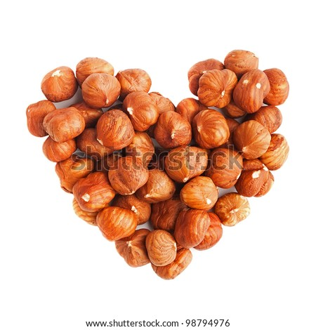 Hazelnuts in form of heart