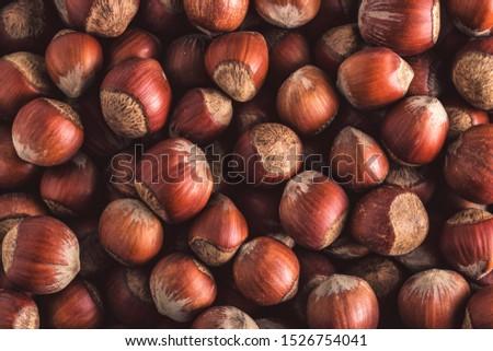 Hazelnuts. Stack of hazelnuts. Food background. Hazelnuts texture. Top view #1526754041