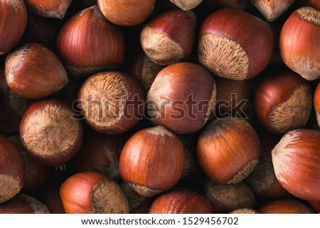 Hazelnuts. Stack of hazelnuts. Food background. Hazelnuts texture. Top view #1529456702
