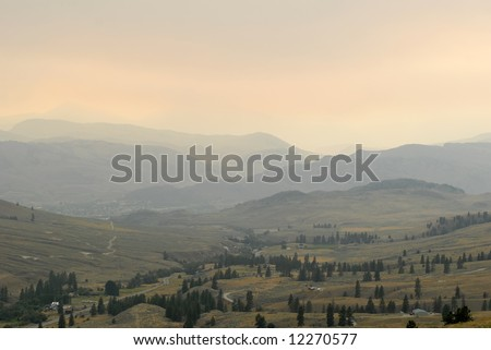 Hazy Landscape (Forest Fire Smoke) - Oroville, Washington, USA