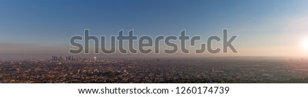 Hazy Los Angeles panorama sunset