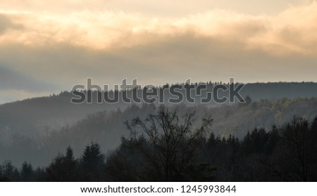 Hazy pastel orange sunset with hazy trees on hills