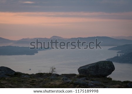 Hazy sunset over the northern part of the fjord surrounding Bergen