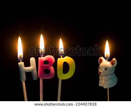 HBD, Happy birthday text with the Rat (one of the chinese zodiac animal) in lit candles