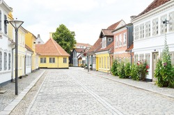 HC Andersen house in Old town Odense Danmark. HC Andersen was born in this house.