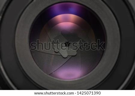 HD diaphragm of a camera lens aperture, old lens, vintage lens, aperture vintage lens