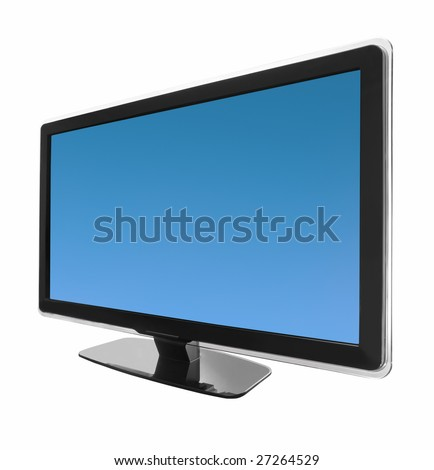 hd wide screen tv display isolated on white