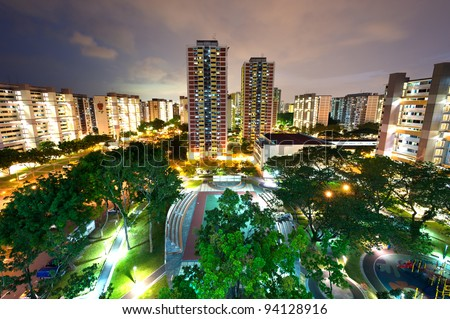 HDB housing complex in Singapore - stock photo