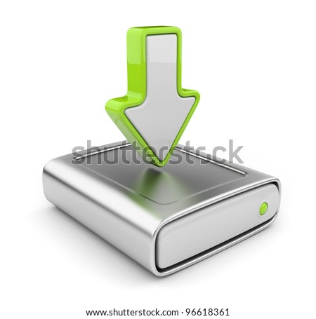 HDD drive and arrow. Upload data icon 3D. Isolated on white background