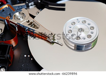 hdd (hard drive) of computer inside closeup