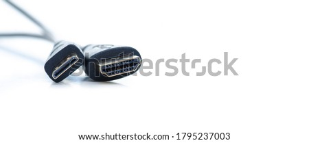 Photo of  HDMI mini HDMI adapter on white background isolation