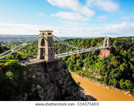 HDR Clifton Suspension Bridge spanning the Avon Gorge and River Avon designed by Brunel and completed in 1864 in Bristol, UK #514375603