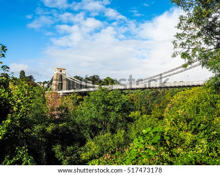 HDR Clifton Suspension Bridge spanning the Avon Gorge and River Avon designed by Brunel and completed in 1864 in Bristol, UK #517473178