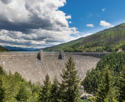 HDR colorful image of Hungry Horse Dam Near Glacier National Park, Montana built for recreation, flood control, and power generation