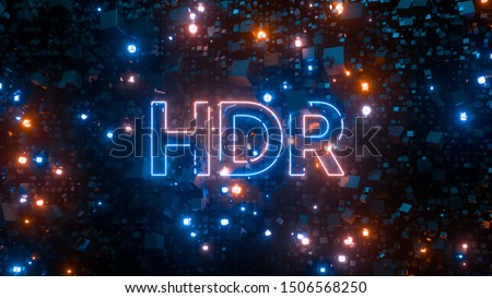 HDR high dynamic range television technology concept. Abstract bright creative background. Neon glowing lights, millions of fluorescent particles. Modern colorful illumination design. 3d rendering