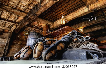HDR image from antique nautical equipment on a ship