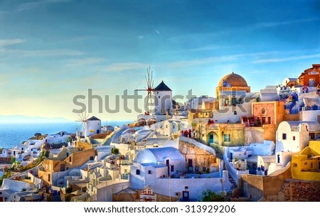 HDR image from the famous view over the village of Oia at the Island Santorini, Greece