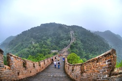 HDR image (high Dynamic Range) of the Great Wall of China on foggy weather through fisheye lens