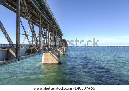 HDR image of a bridge in Key West Florida - collapsed bridge