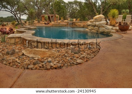 Hdr Image Of Backyard Pool In Arid Landscape Setting. Bright Blue ...