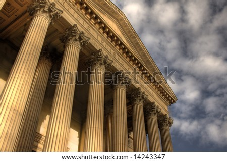 HDR image of Columns on St Georges Hall, Liverpool, England, completed in 1854