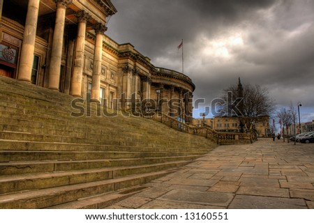 HDR image of Liverpool Central Library in William Brown St, Liverpool, England - stock photo