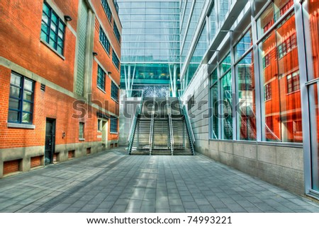 HDR Image of Modern Exterior Stairs between buildings