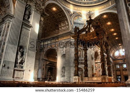 HDR image of the interior of St. Peters Basilica. Created by combining three individual exposures.