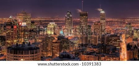 HDR Image of the Montreal Downtown Core at Night