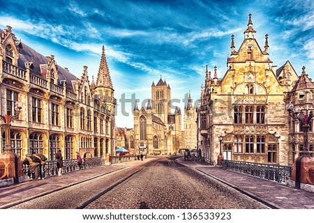hdr image of the street in gent ...