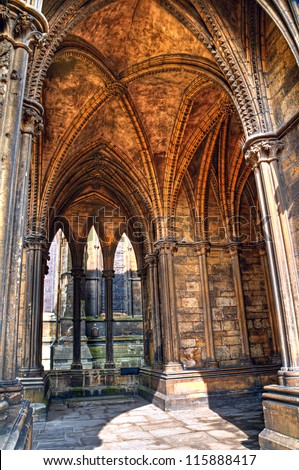 HDR image showcases the Gothic architectural details of a vaulted ceiling in Lincoln Cathedral, england. #115888417