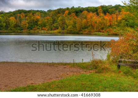 HDR landscape of Trees and Lake Alice in Wisconsin.