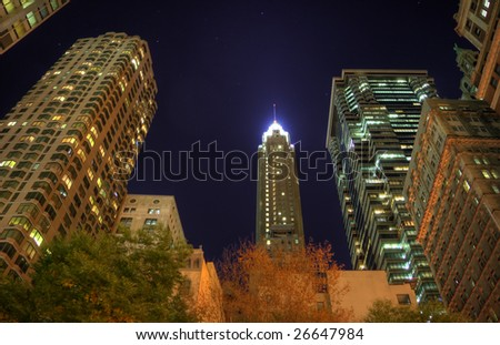 HDR night image of a group of buildings in the NYC financial district. Some chromatic aberration is inevitable with this kind of image.