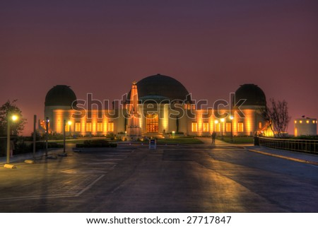 HDR night image of Griffith Observatory in Los Angeles. Minor chromatic aberrations are inevitable with this kind of image.