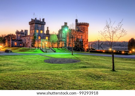 Hdr of Dromoland Castle during the night at sunset in west Ireland.