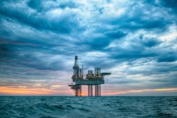 HDR of jack up rig at sunset