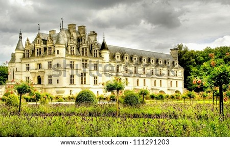 HDR  of the romantic castle of chenonceau in France , europe