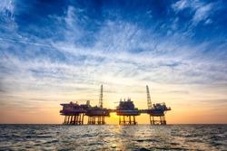 HDR offshore oil platform at sunset