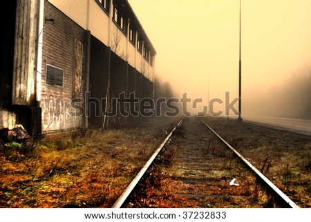 HDR photo of foggy railway track