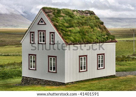 HDR photo of Iceland. Turf and grass roof in a museum building in Glaumbaer.