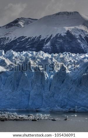 HDR photograph of the south side of Perito Moreno glacier in los glaciares National Park in Patagonia, Argentina