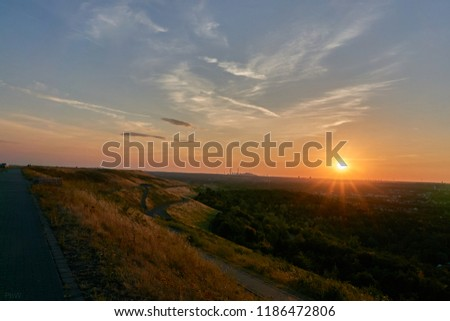 hdr picture of a sunset on a mountain