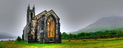 Hdr processing of Dunlewey or Dunlewy church in Co. Donegal. Dún Lúiche Landscape of Ireland.